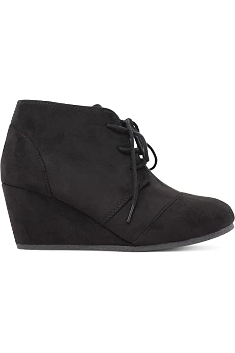 weyoh Faux Suede Lace up Girls Wedges