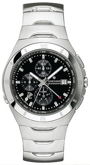 Junghans 41/4430.44 - Reloj cronógrafo de caballero de cuarzo con correa de acero inoxidable plateada (alarma, cronómetro) - sumergible a 100 metros: ...
