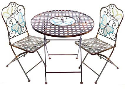 Fantastic Amazon Com Alpine Butterfly Table And Two Chairs Bistro Set Spiritservingveterans Wood Chair Design Ideas Spiritservingveteransorg