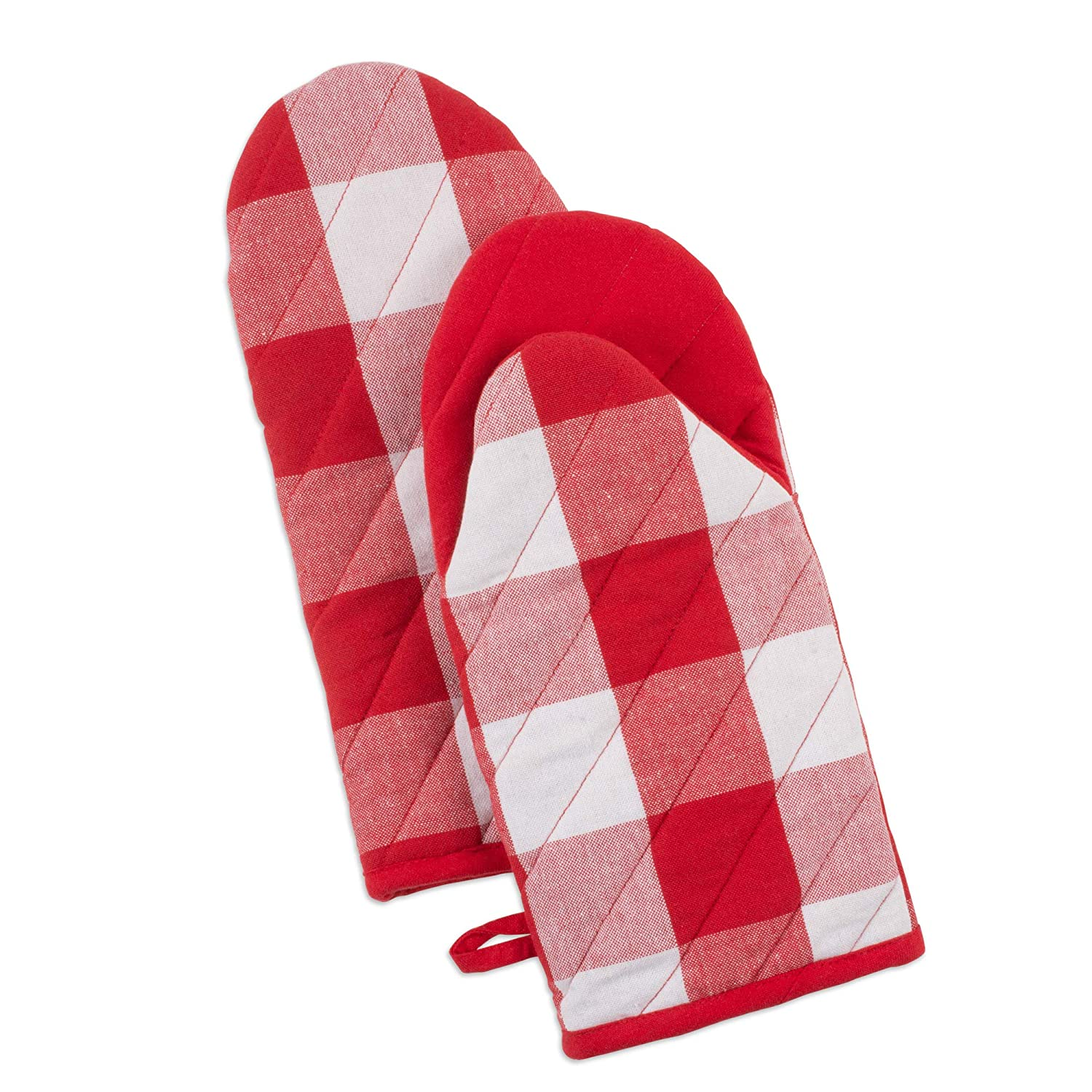 DII Buffalo Check Kitchen Collection, Oven Mitts, Red & White 2 Piece