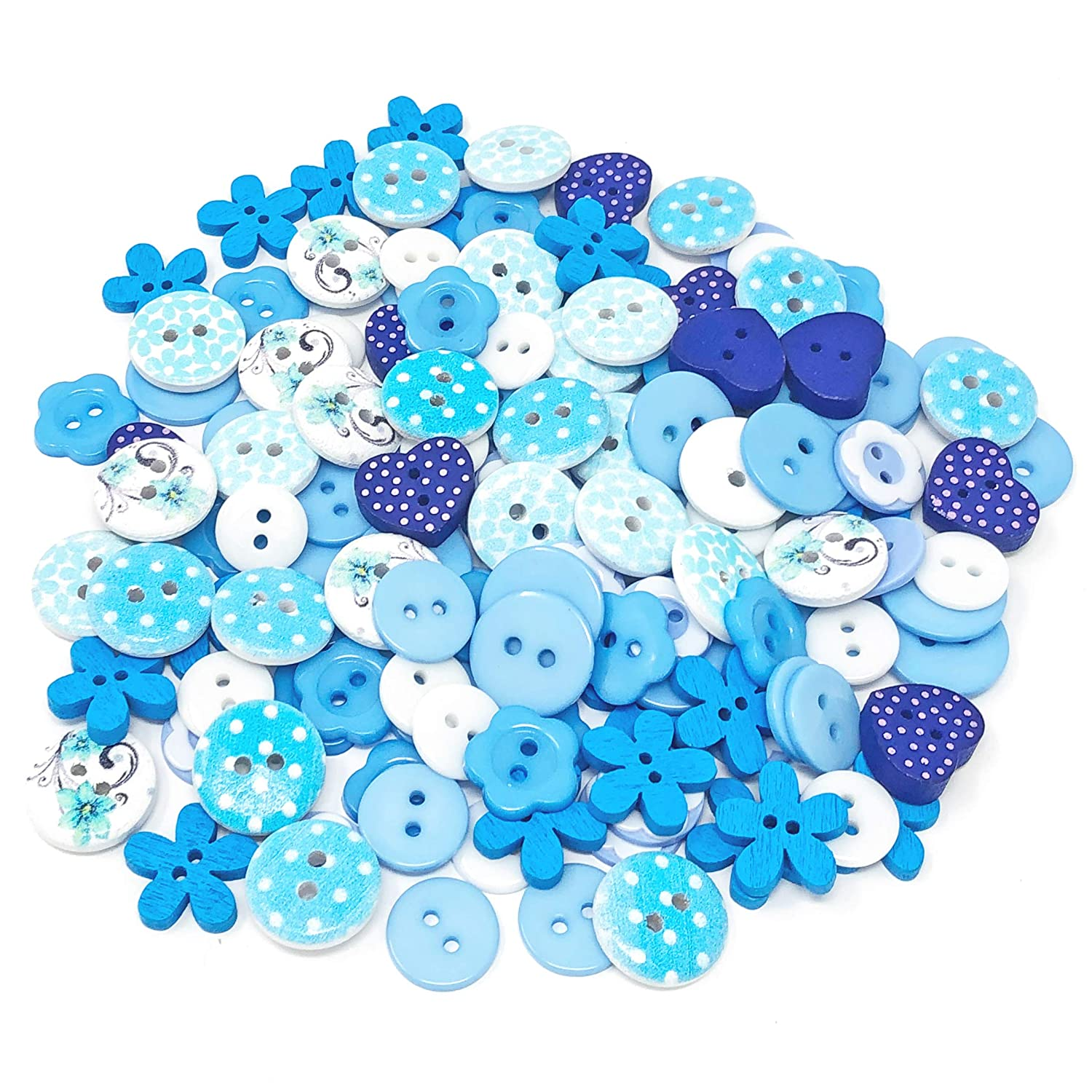 150pcs Blue Mix Wood Acrylic & Resin Buttons For Cardmaking Embellishments Wedding Touches