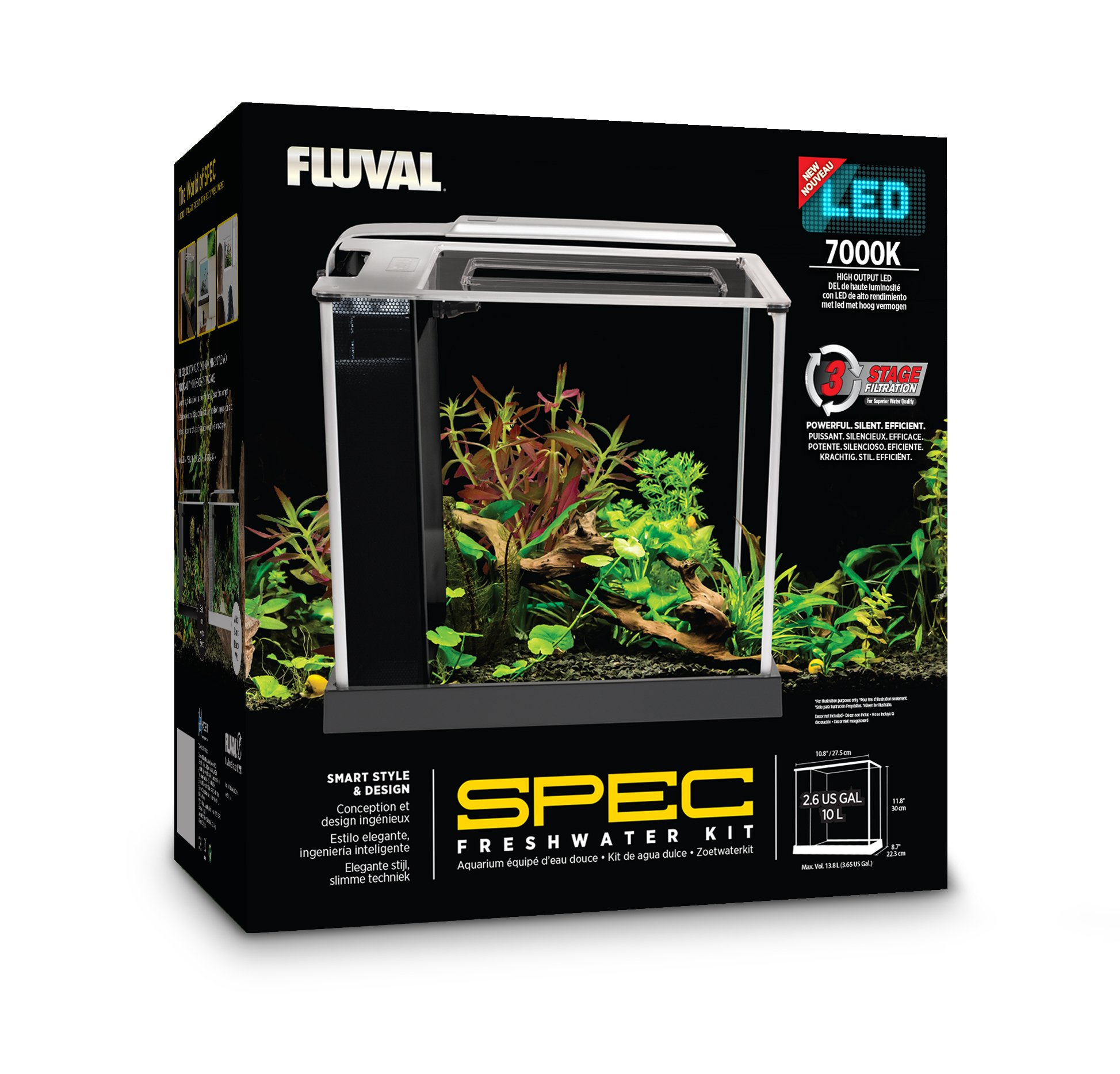 Fluval Spec III Aquarium Kit, 2.6-Gallon, Black by Fluval