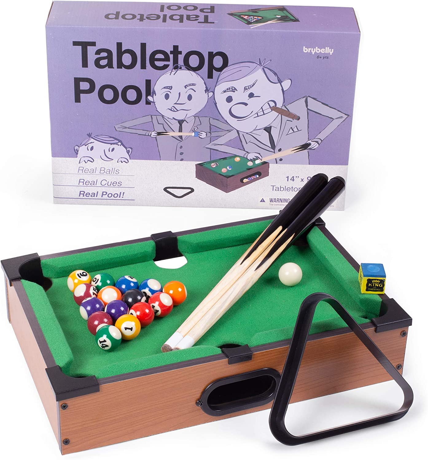 Tabletop Pool, Mini Pool Table & Billiard Set | Small Billiards Game with 16 Resin Balls, 2 Pool Cues, Triangle Rack, & Chalk | Travel-Friendly & Office Desk Games, Bartop, or Home Use & Easy Storage