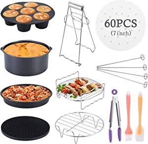 WarmHut 11-Piece Air Fryer Accessories Kit 7 Inch with 60Pcs Non-Stick Air Fryer Parchment Liners, Compatible with Ninja Power Phillips Gowise, Fit all 3.2QT - 5.8QT