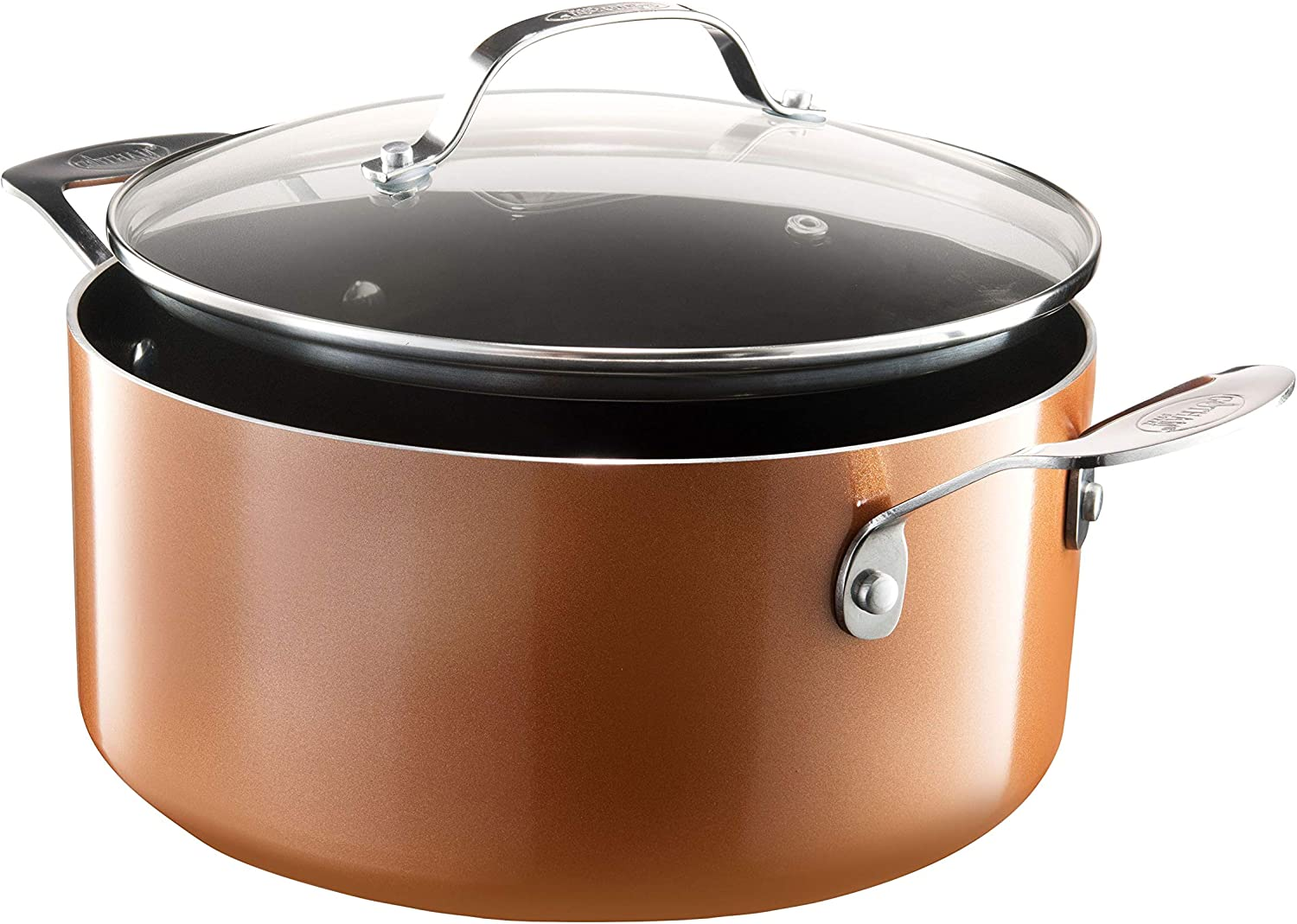 Gotham Steel Nonstick 5 Quart Stock Pot with Lid, Ultra Durable Mineral and Diamond Triple Coated Surface,100% PFOA Free, Stockpot with Stay Cool Stainless-Steel Handle, Oven & Dishwasher Safe