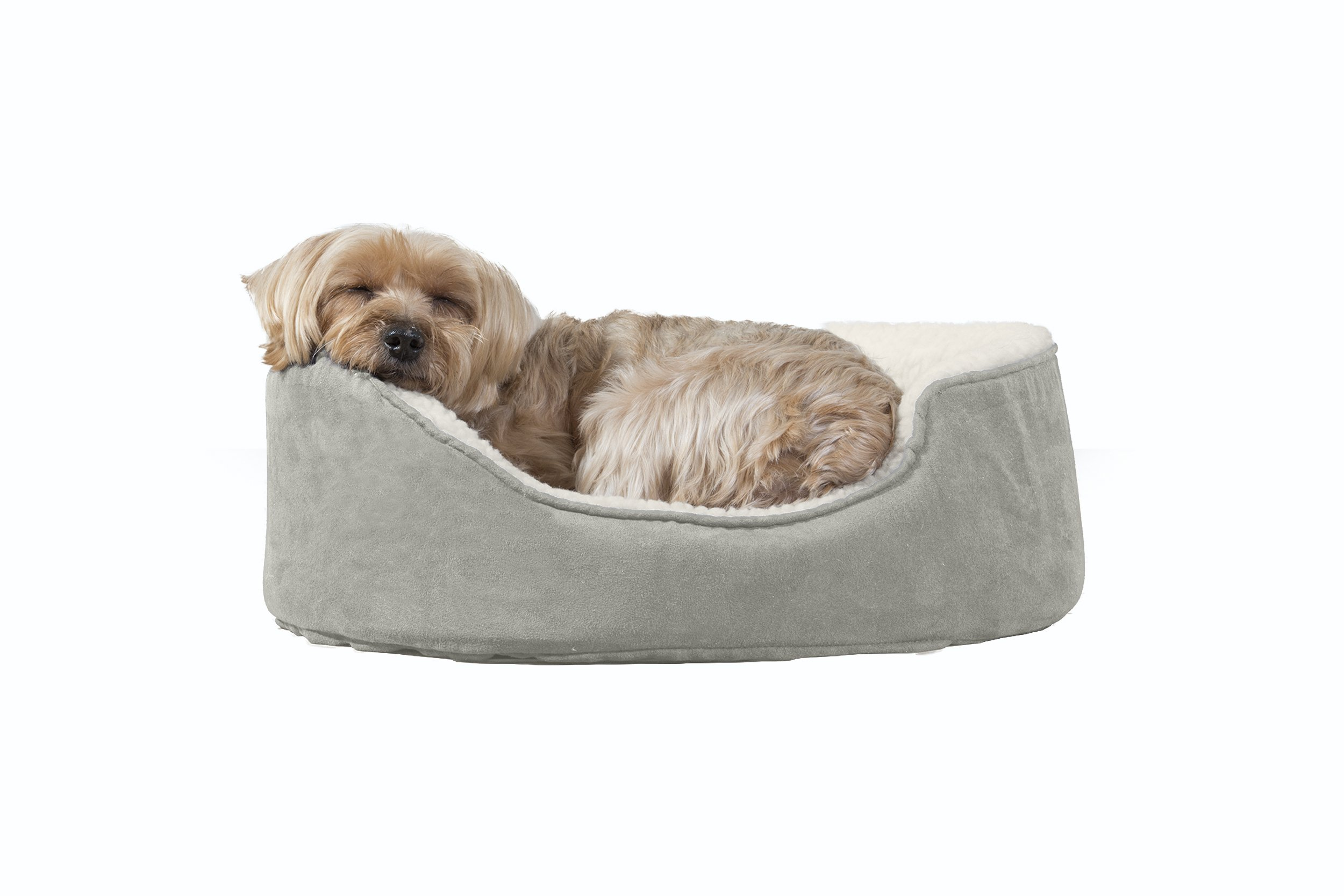 Furhaven Pet Dog Bed | Orthopedic Oval Lounger Pet Bed for Dogs & Cats, Clay, Small