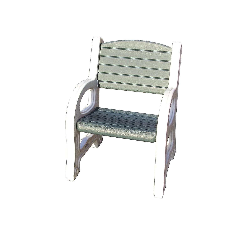 Amazon com duramax 84079 single seat garden bench white with sacramento green garden outdoor