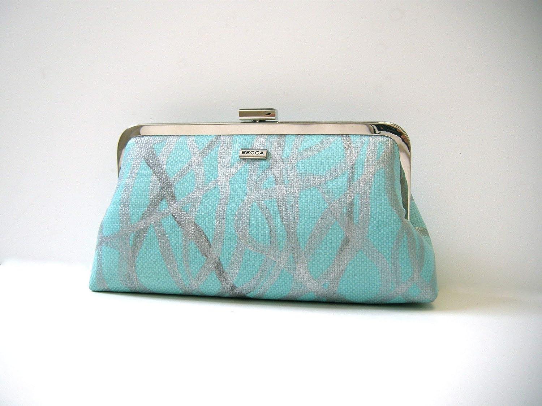 Bolso turquesa y plata, Clutch original pintado a mano,diseño exclusivo de BeccaTextile.: Amazon.es: Handmade