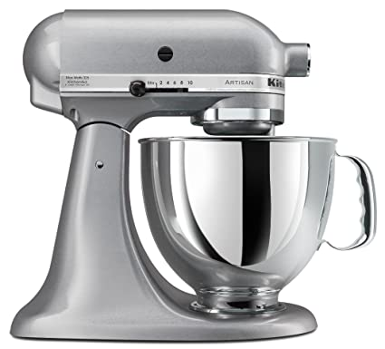 KitchenAid KSM150PSSM Artisan Series 5 Quart Stand Mixer, Silver Metallic  [Discontinued]