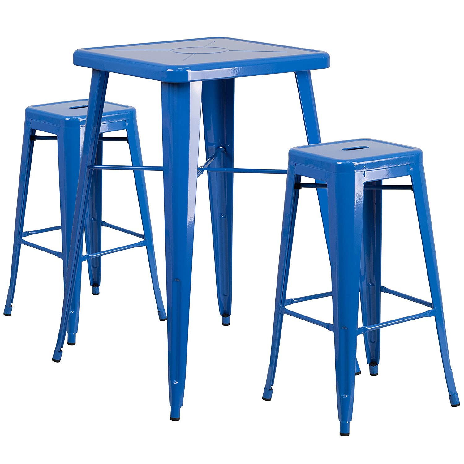 Flash Furniture 23.75'' Square Blue Metal Indoor-Outdoor Bar Table Set with 2 Square Seat Backless Stools