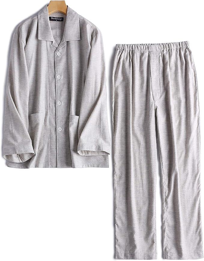BYWX Men Nightwear Long Sleeve Flannel Sleepwear Buttons Pajama Sets