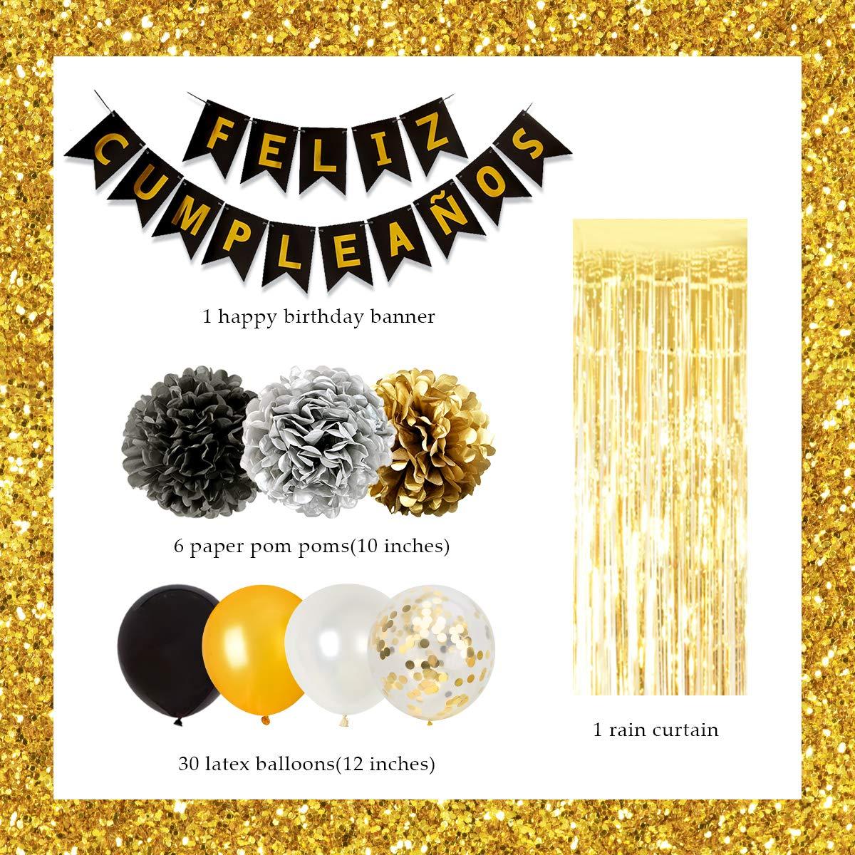 Feliz Cumplea/ñOs decoraci/ón Oro negro para hombres y mujeres Feliz cumplea/ños Banner Papel Pompones y cortinas de papel de aluminio