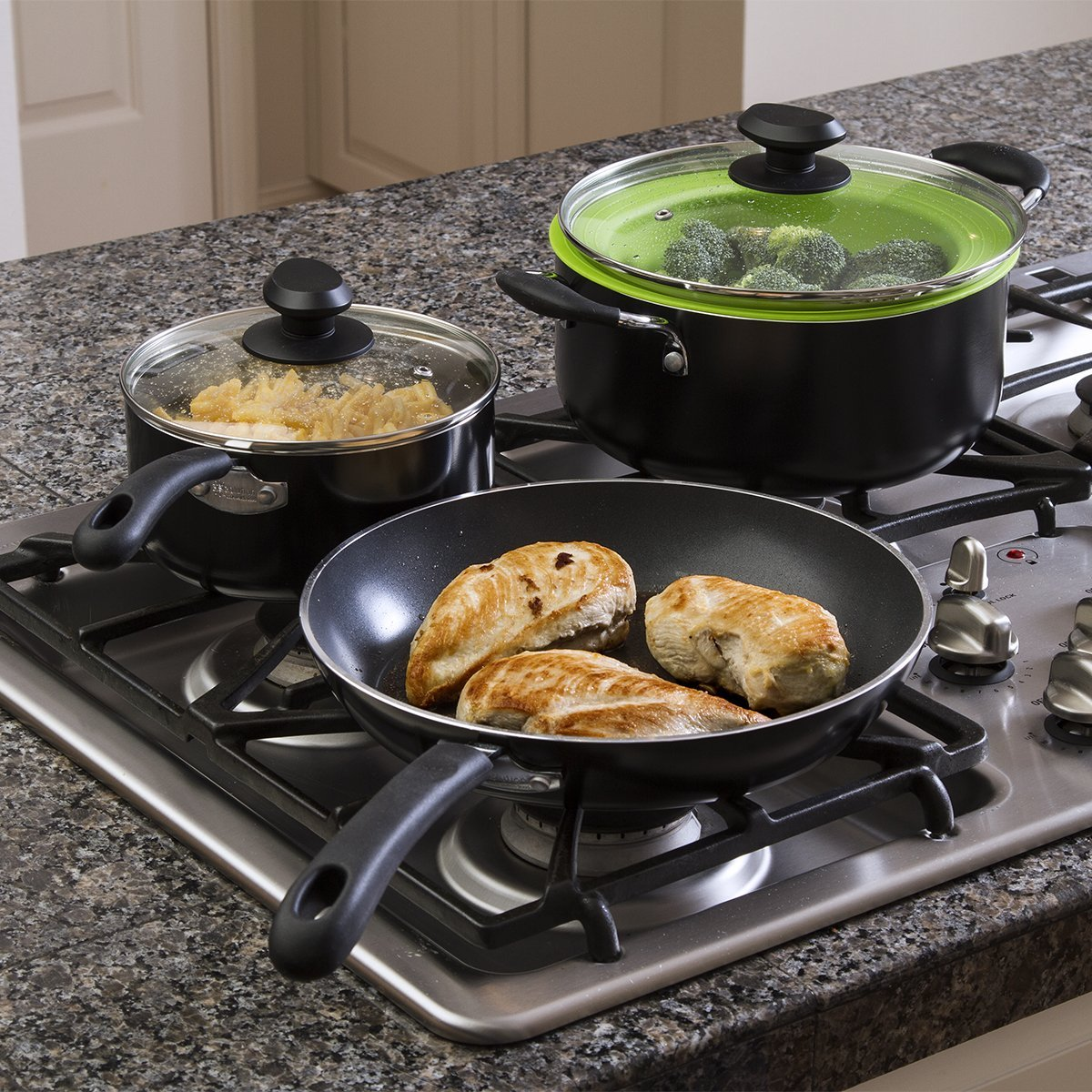 Ecolution Nonstick Cookware Set, 12 Piece -  Heavy Weight, Includes Vented Lids, Steamer, Bamboo Cooking Utensils,  Black by Ecolution (Image #2)