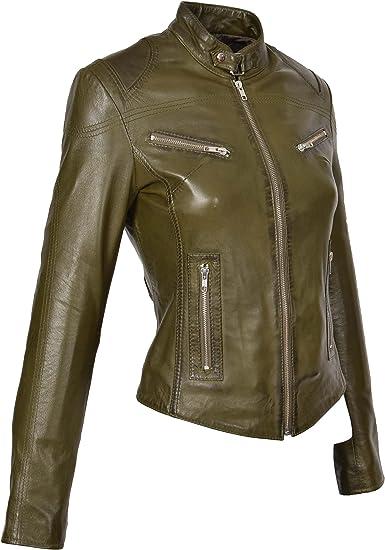 Nouveau femme en cuir véritable vert olive coupe slim doux fermeture éclair style motard veste