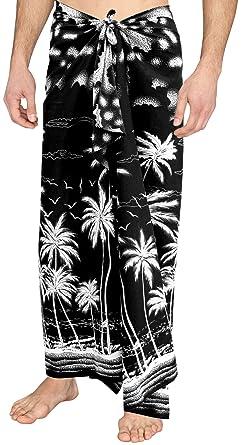 "51c942ad3a LA LEELA Soft Light Printed Swimwear Casual Pareo Mens Wrap  72""X42"" Black_3083"