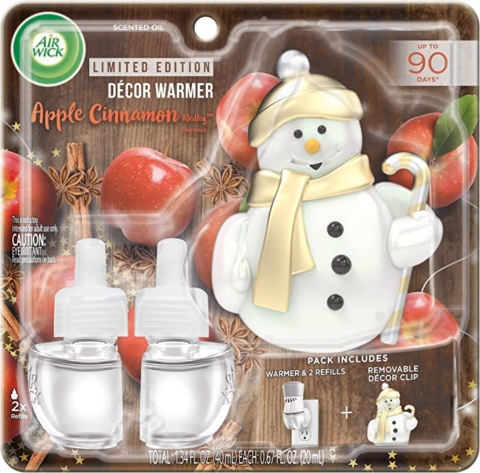 Air Wick Plug in Scented Oil Starter Kit with Snowman Free Decorative Warmer + 2 Refills, Apple Cinnamon, Fall Scent, Fall Spray, (2x0.67oz), Essential Oils, Air Freshener