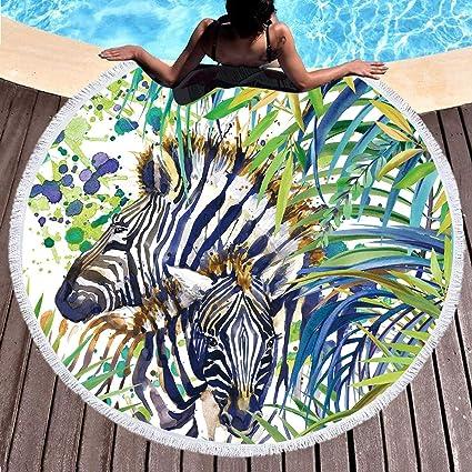 Manta de Playa al Aire Libre, Caballo Blanco, Cebra y Borla ...