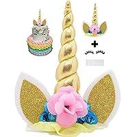 Koko Unicorn cake topper, decoración unicornio hecho a mano para pastel. Cuerno de unicornio dorado, orejas, flores y pestañas. Decoración del unicornio para fiestas de bebés, bodas, y cumpleaños