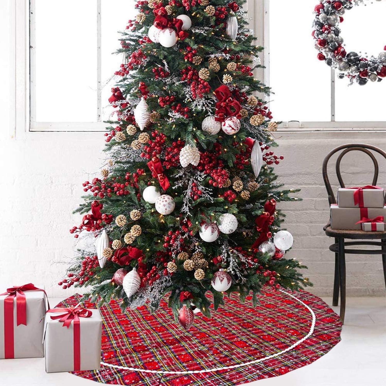 Xmas Tree Skirt for Holiday Christmas Indoor Outdoor Decorations B Walant Christmas Tree Skirt
