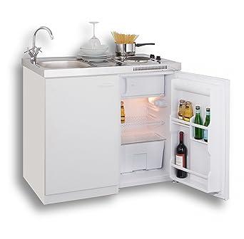 Pantryküche mit kühlschrank  MEBASA MK0001 Pantryküche, Miniküche 100 cm Weiß mit Duokochfeld und ...
