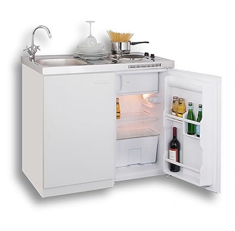 MEBASA MK0001 Pantryküche, Miniküche 100 cm Weiß mit Duokochfeld und ...
