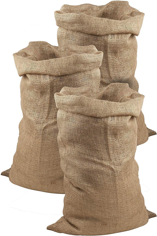 Juego de 3 sacos de yute de Meister, 105x 60cm, 50 kg de carga, sacos ecológicos de fibra natural, 100 % yute, sacos de patatas resistentes con protección contra heladas, sacos de Papá Noel, para ca