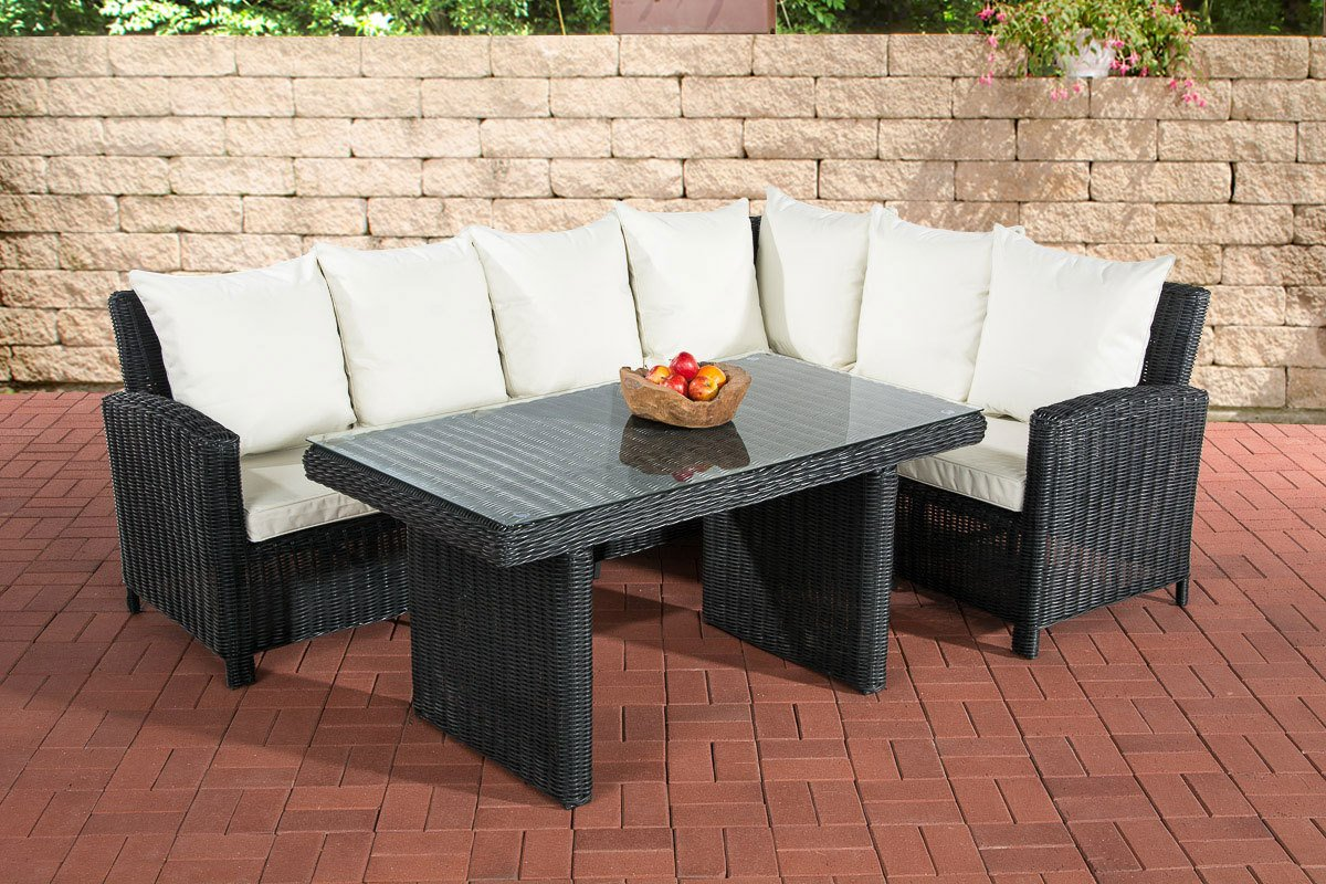 clp poly rattan garten garnitur minari 5mm schwarz 6 personen eckbank tisch 140 x 80 cm. Black Bedroom Furniture Sets. Home Design Ideas