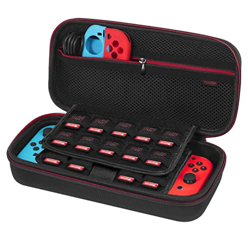 Nintendo Switch Case - Younik Upgrade Version Hard Travel Carrying Case with Larger Storage Space for 19 Game Cartridges, AC Adapter and Other Nintendo Switch Accessories