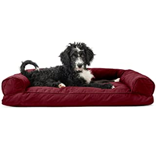 Furhaven Pet Dog Bed   Quilted Pillow Cushion Traditional Sofa-Style Living Room Couch Pet Bed w/ Removable Cover for Dogs & Cats, Wine Red, Large