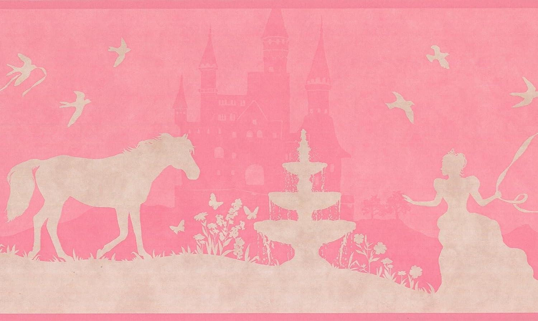 Princess Castle Horse Beige Hot Pink Wallpaper Border for Kids ...