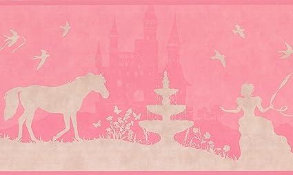 Ordinaire Princess Castle Horse Beige Hot Pink Wallpaper Border For Kids Bedroom  Bathroom Playroom, Roll 15