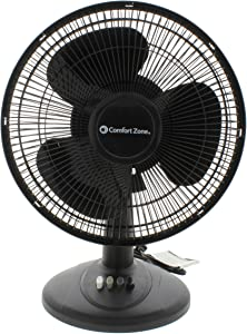 Comfort Zone Oscillating Table Fan | Portable, 3 Speed, Black Fan