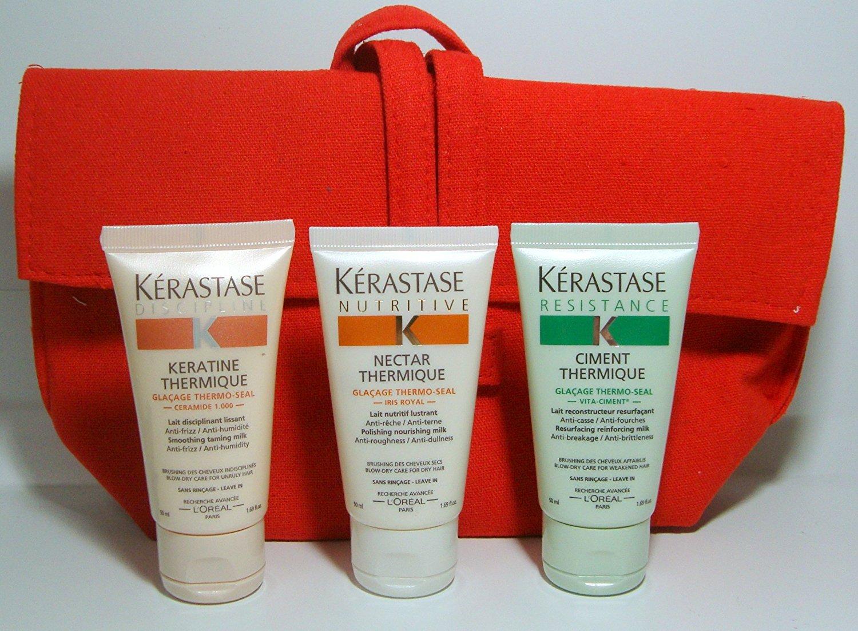 Kerastase Kit de voyage Nectar Thermique 50ml + Keratine termique 50ml + Ciment Thermique 50ml + Pochette offerte