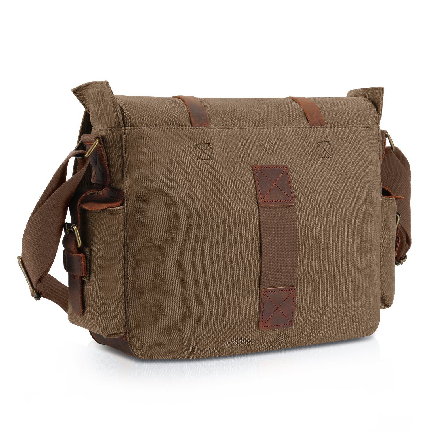 a2cf2ec54a Kattee Classic Military Canvas Shoulder Messenger Bag Leather Straps Fit 16  inch Laptop (Coffee)  Amazon.ca  Luggage   Bags