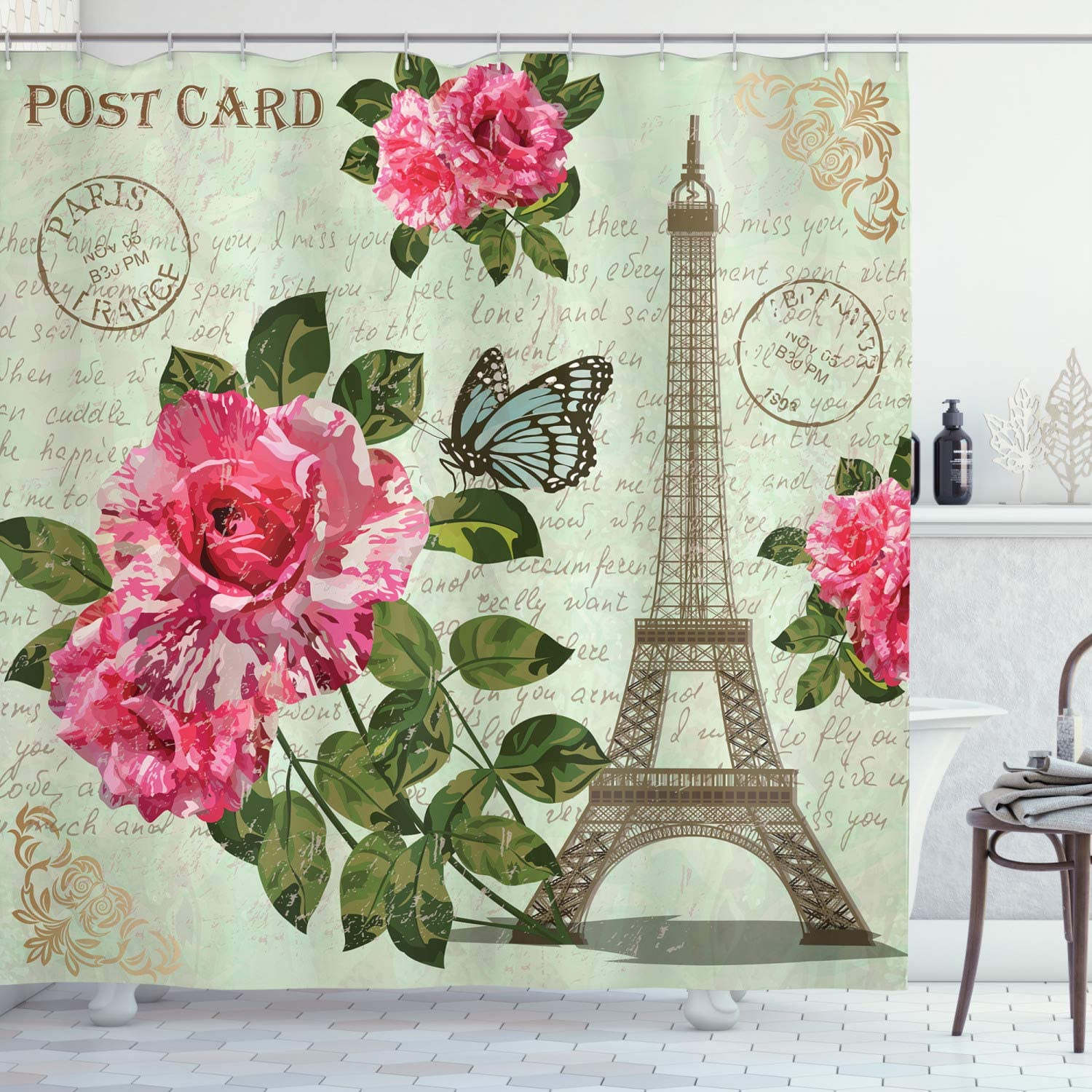 Ambesonne Paris Shower Curtain, Shabby Chic Romantic Roses Flowers Leaves with Eiffel Tower and Abstract Lettering, Fabric Bathroom Decor Set with Hooks, 75 Inches Long, Multicolor