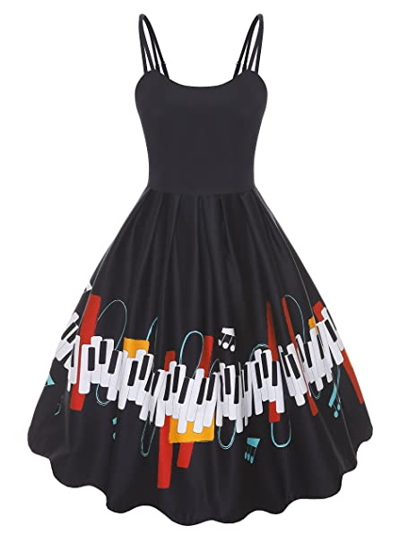 e66739f4ed78 ABYOXI Women's Vintage Adjustable Double Strap Sleeveless Printing Summer Party  Cocktail Dresses S-2XL Black