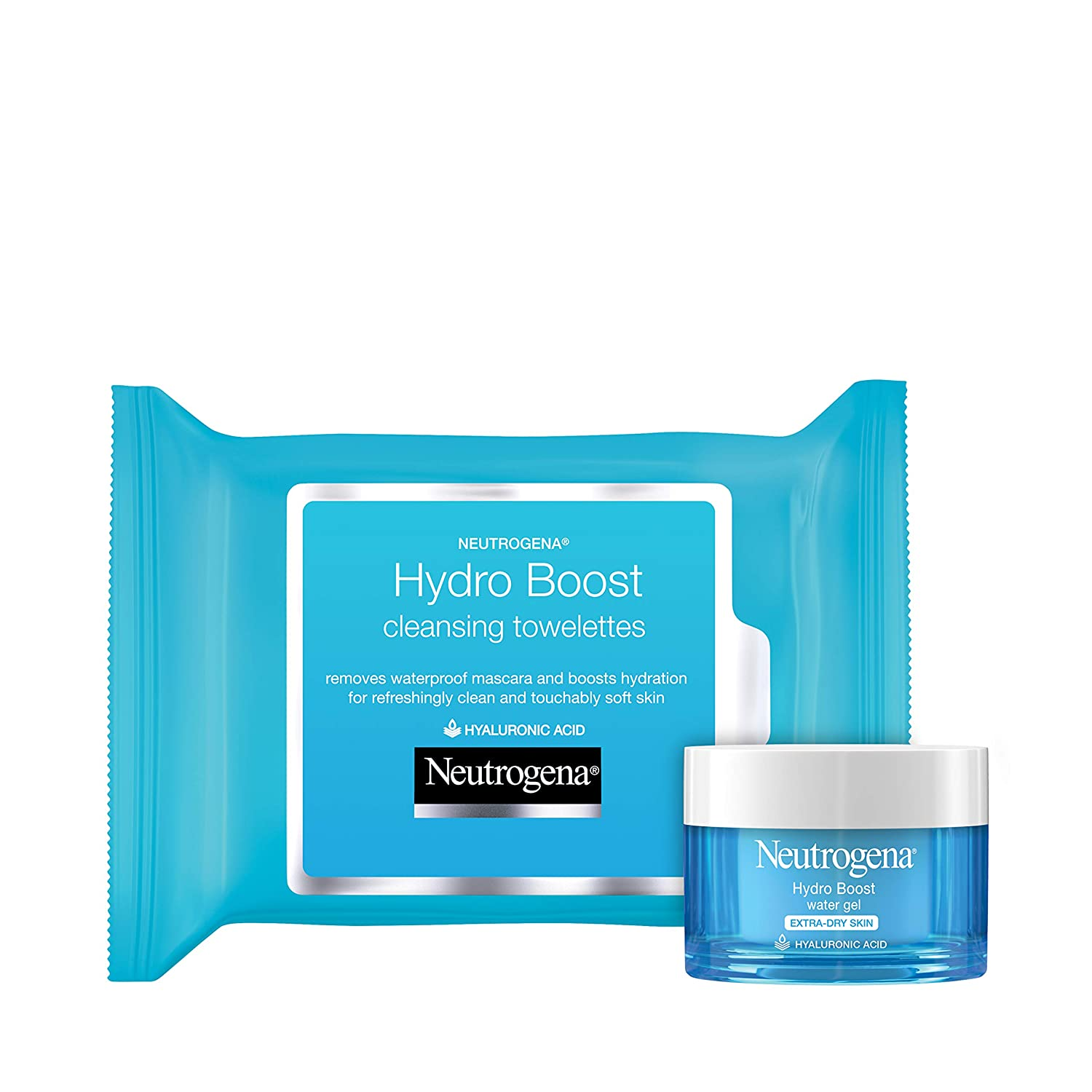 Neutrogena Hydro Boost Hydrating Facial Cleansing Makeup Remover Wipes, Hyaluronic Acid, Twin Pack, 2 x 25 ct, & Hydro Boost Hydrating Gel-Cream Face Moisturizer, Hyaluronic Acid, 1.7 oz