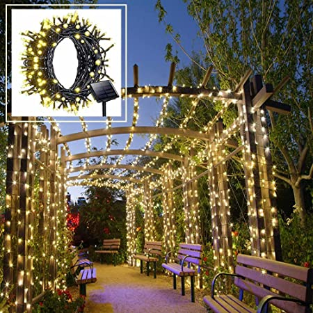 Solar Led String Lights Outdoor Warm White Christmas Lights 200 Leds 8 Modes 72ft With Dusk To Down Sensor For Xmas Tree Wedding Party Holiday