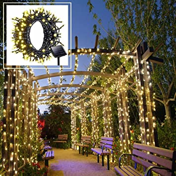 Amazon solar led string lights outdoor warm white christmas solar led string lights outdoor warm white christmas lights 200 leds 8 modes 72ft workwithnaturefo