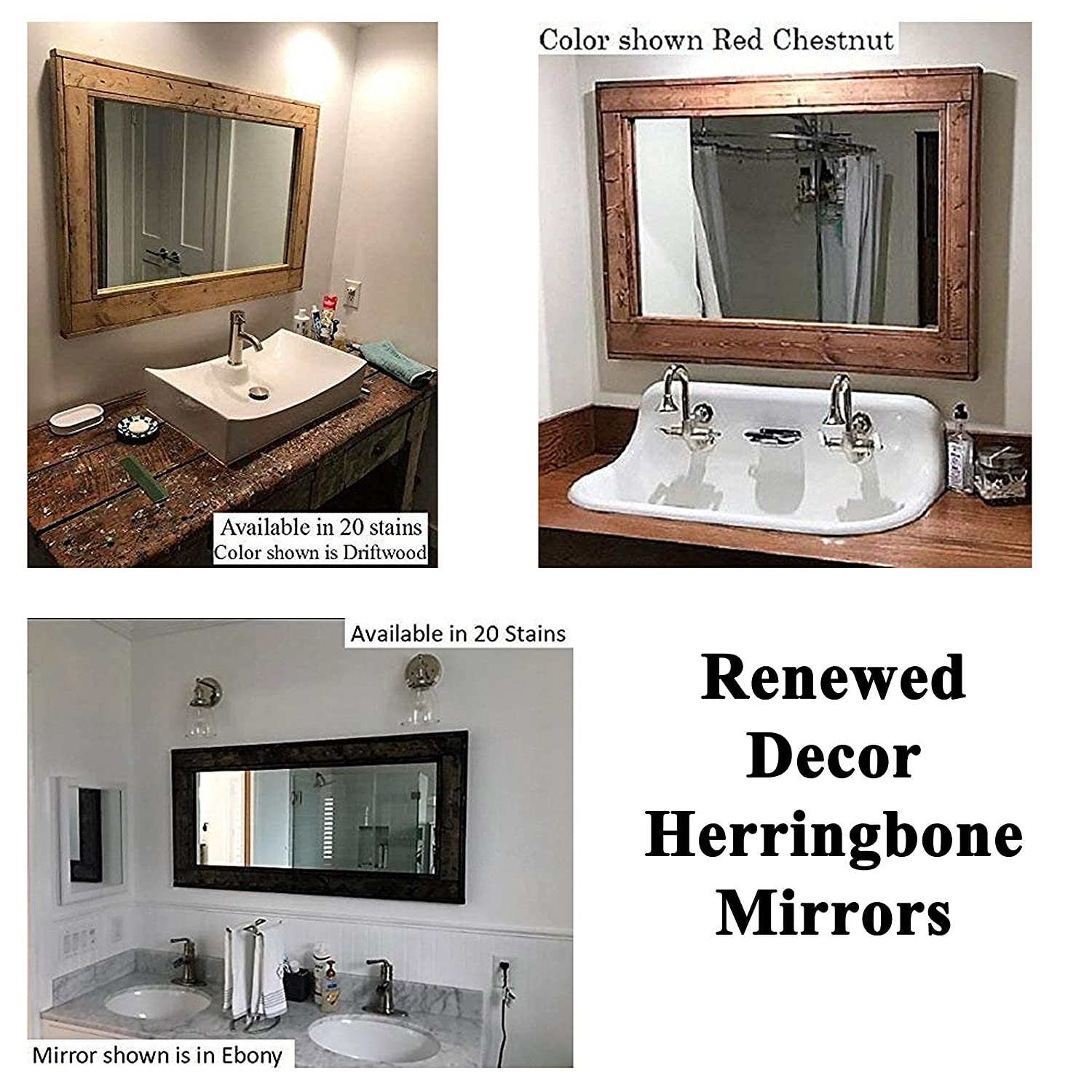 Amazon Herringbone Reclaimed Wood Framed Mirror Available in 4