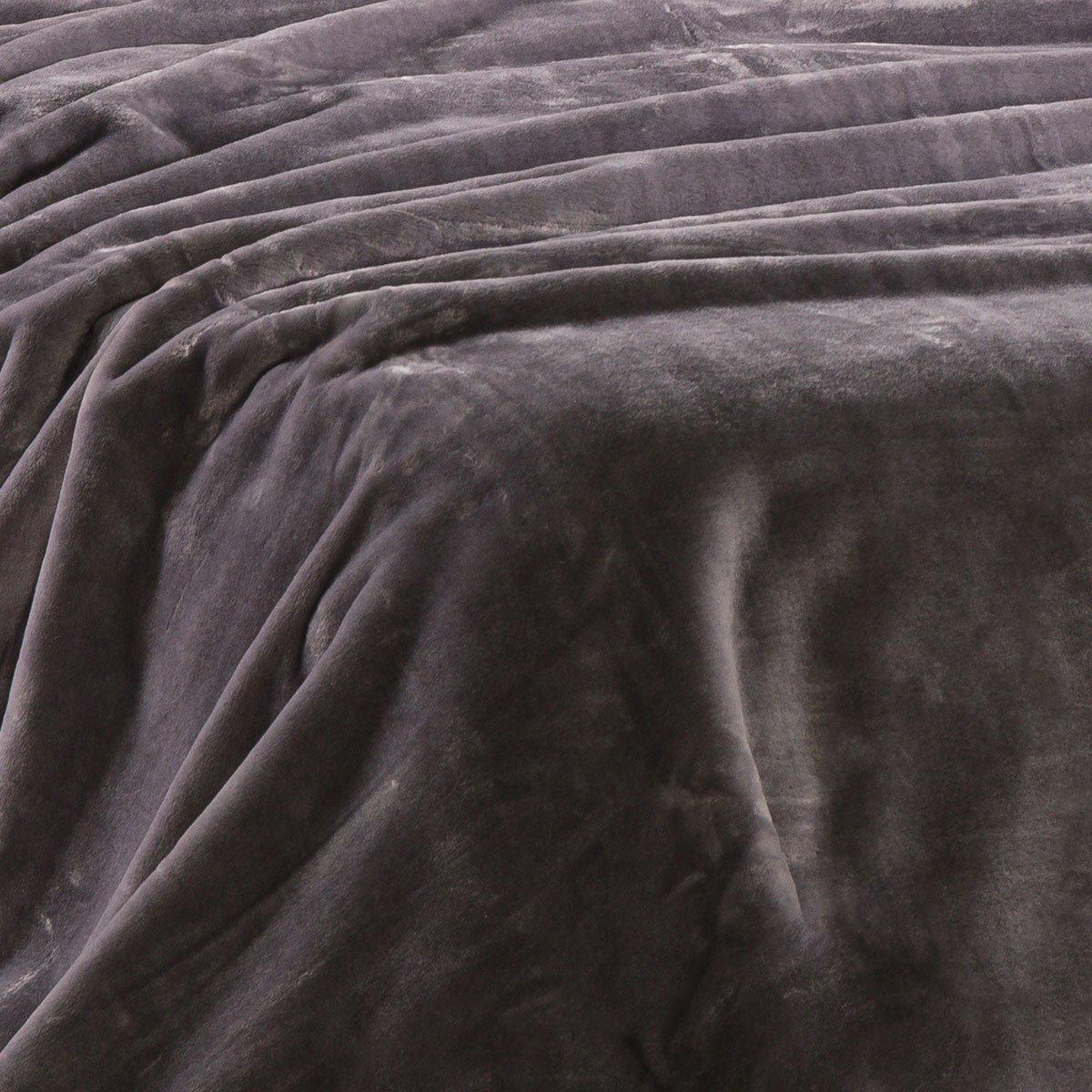 Sancarlos OSLO - Manta Lisa de Terciopelo Suave, Color Gris, Cama de 135 cm, 220x240 cm