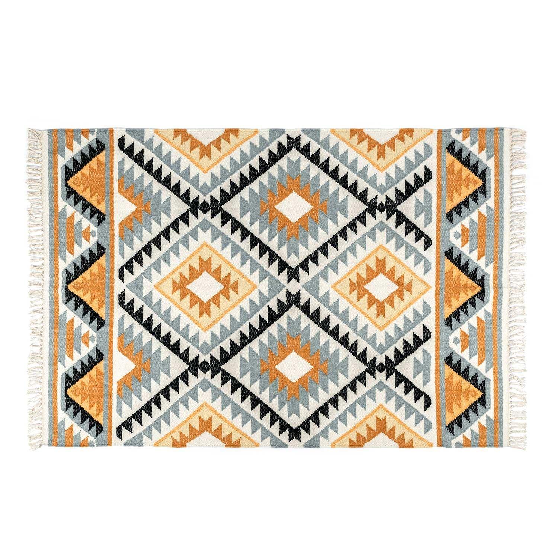 Homescapes handgewobener Kelim Teppichläufer, Jute Wolle, Bunt, Agra, 66 x 200cm