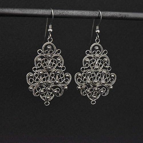 1865746b1 Amazon.com: Silver filigree earrings, Bohemian earrings, Sterling Silver  Earrings, Dangle earrings, Boho jewelry, Israel jewelry, Gift for woman:  Handmade