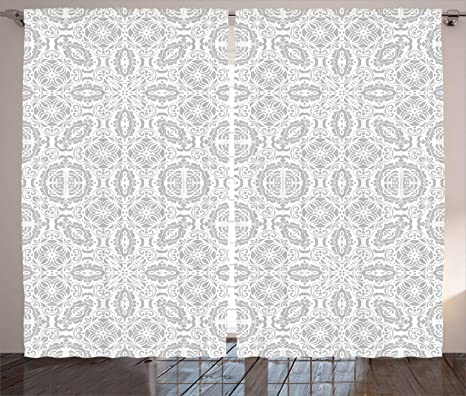 Amazon Com Ambesonne Grey Curtains Lace Victorian Damask Antique Baroque Design With Oriental Effects Renaissance Art Living Room Bedroom Window Drapes 2 Panel Set 108 X 96 White Home Kitchen