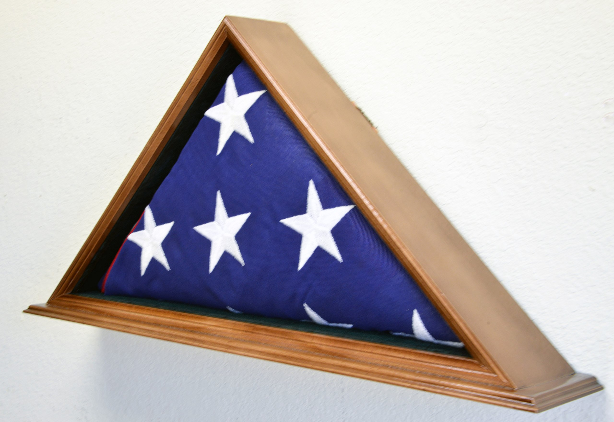 Flag Display Case for 5 x 9.5 Burial/Funeral/Casket/Veterans Military Flag Box Solid Wood USA (Walnut Finish) by sfDisplay.com,LLC. (Image #3)