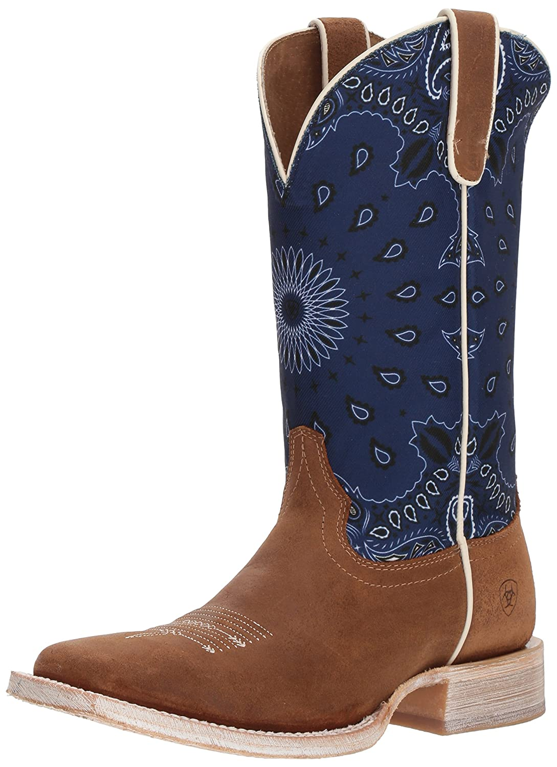 Ariat Women's Circuit Savanna Western Boot B076MMS28V 9 M US|Taurus Tan/Blue Paisley Print