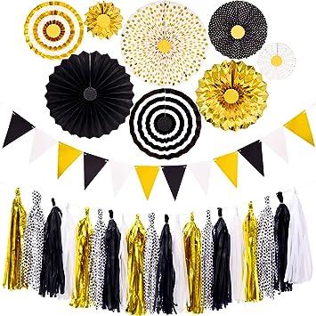 Decoraciones de Fiesta de Graduación Negras y Doradas, 8 Abanicos de Papel Colgantes 20 Guirnalda de Papel de Seda con Banderines de Triángulo para Fiesta de Cumpleaños de Boda de Graduación 2020: