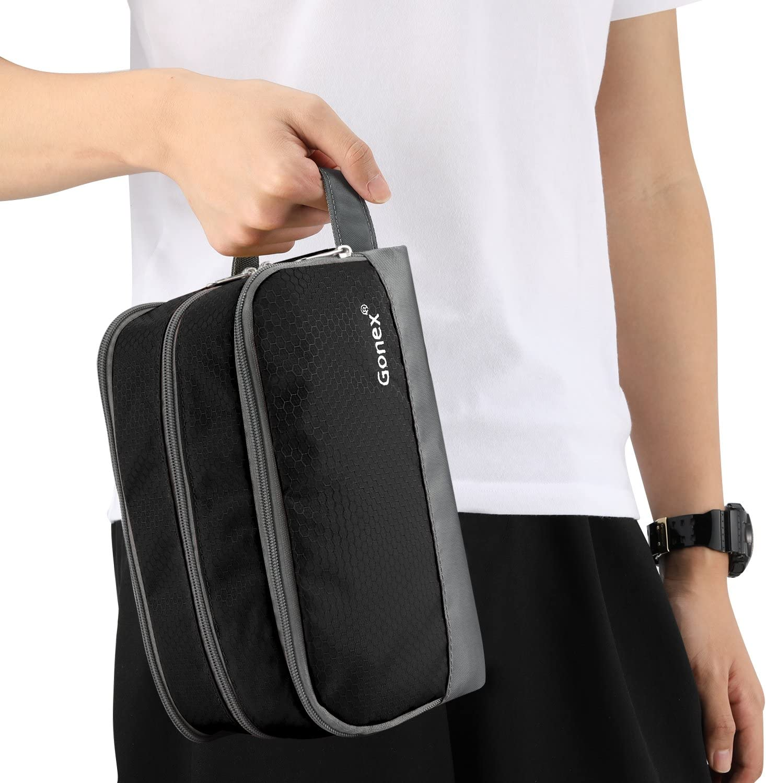 Gonex Toiletry Organizer Shaving Bag Black Nylon Travel Toiletry Bag with Strap