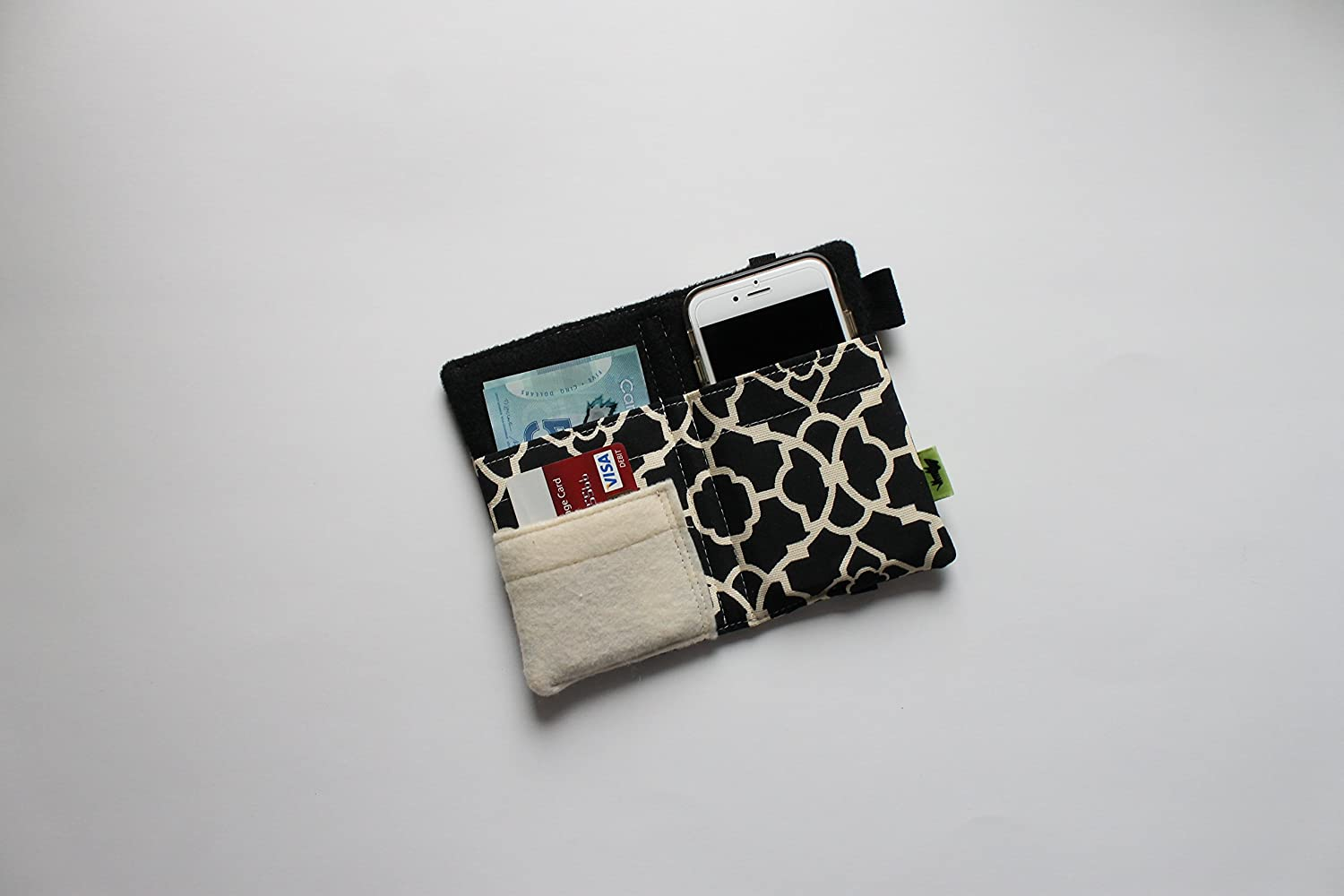 Black and White Phone Wallet Purse, Geometric Design