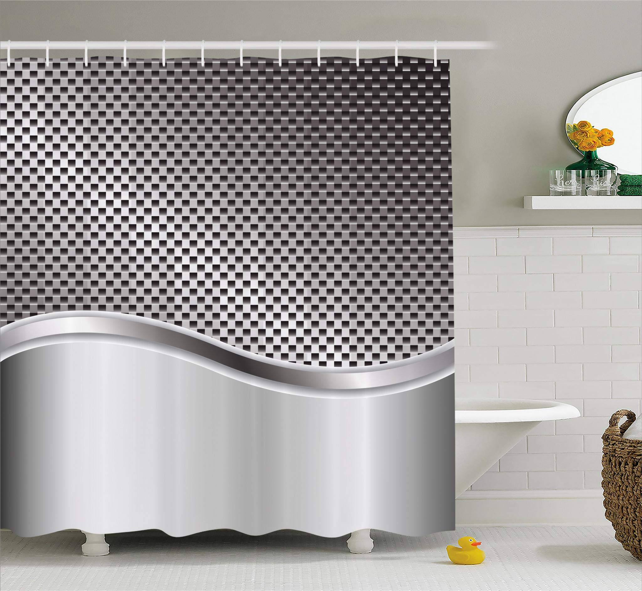 Ambesonne Grey Shower Curtain, Technology Structure with Wavy Stripe and Checkered Motif Industrial Grid Print, Fabric Bathroom Decor Set with Hooks, 75 Inches Long, Charcoal Grey